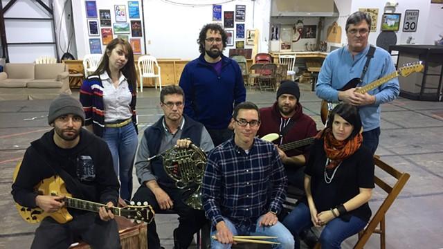 The band, L-R: Max Bronstein-Paritz, Andriana Chobot, Tom Whitney, Nate Venet, Matt Guzowski, Rob O'Dea, Marie Claire Johnson, Tom Walters - JORDAN ADAMS