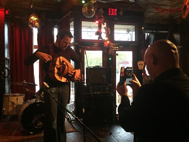 Matthew Minor on hurdy-gurdy, Lee Anderson on phone - JORDAN ADAMS