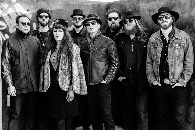 Kat Wright and the Indomitable Soul Band, 2016 (left to right): Dave Purcell, Josh Weinstein, Kat Wright, Jake Whitesell, Shane Hardiman, Ezra Oklan, Luke LaPlant and Bob Wagner - COURTESY OF SHEM ROOSE