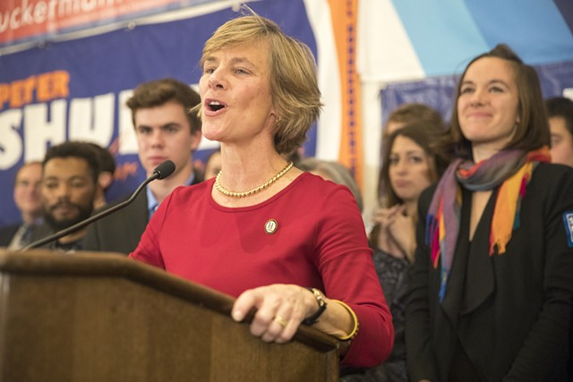 Sue Minter addressing Democrats Tuesday night - JAMES BUCK