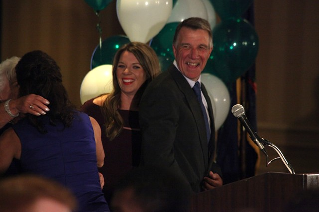 Governor-elect Phil Scott celebrating with his wife, mother and daughter Tuesday night. - MATTHEW THORSEN