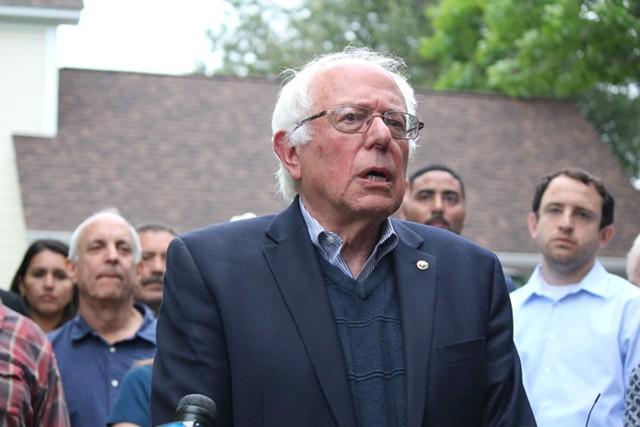 Sen. Bernie Sanders outside his Burlington home in June - FILE: PAUL HEINTZ