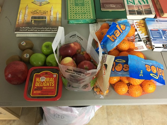 Fruit sent to the mosque by supportive neighbors - FARHAD KHAN