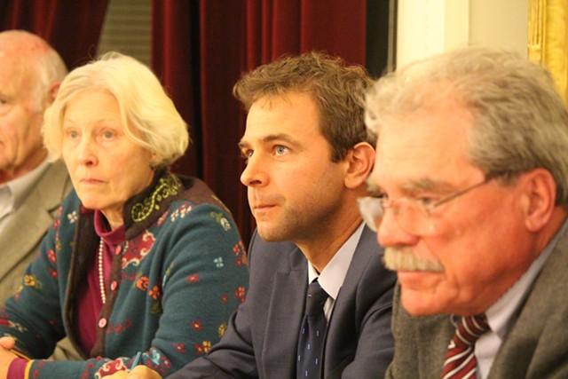 Sen. Tim Ashe, center, on Monday at a caucus of Senate Democrats - PAUL HEINTZ