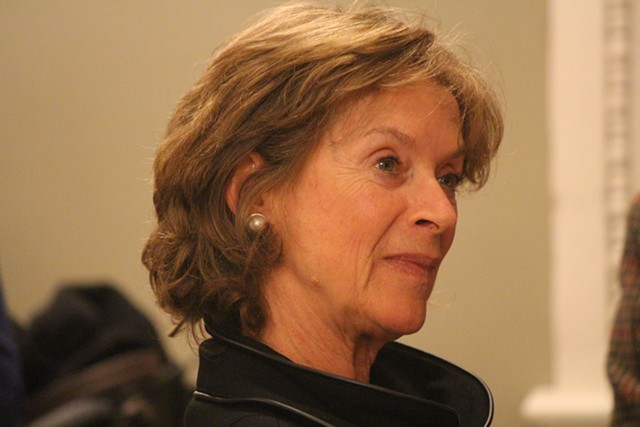 Sen. Claire Ayer on Monday at a Senate Democratic caucus - PAUL HEINTZ