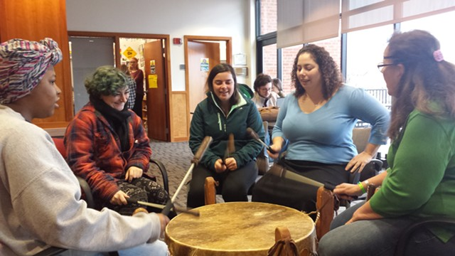 Lucy Cannon-Neel (far right) and Melody Brook (second from right) leading the drumming workshop - KYMELYA SARI