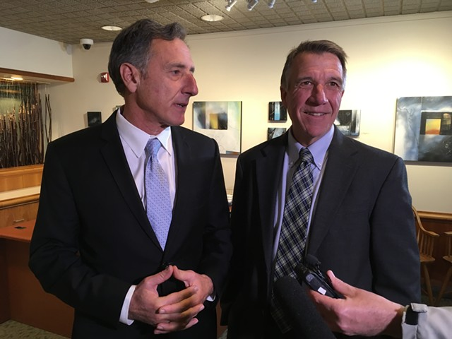 Gov. Peter Shumlin (left) and governor-elect Phil Scott met last week in Montpelier. - TERRI HALLENBECK