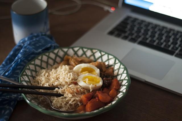 Breakfast ramen with kimchi and egg - HANNAH PALMER EGAN