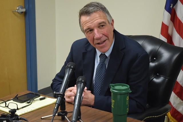 Governor-elect Phil Scott speaks to reporters Monday in Montpelier. - TERRI HALLENBECK
