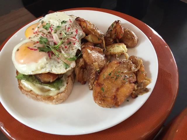 Avocado toast with pork belly at Picnic Social - JON BACON