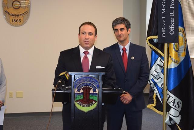 Police Chief Brandon del Pozo and Mayor Miro Weinberger - FILE: TERRI HALLENBECK