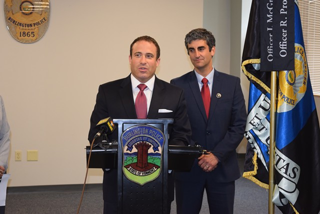 Police Chief Brandon del Pozo and Mayor Miro Weinberger - FILE: TERRI HALLENBECK