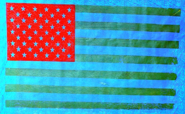 Hand-printed flag by James Bellizia - COURTESY OF FROG HOLLOW AND THE WATERWHEEL FOUNDATION