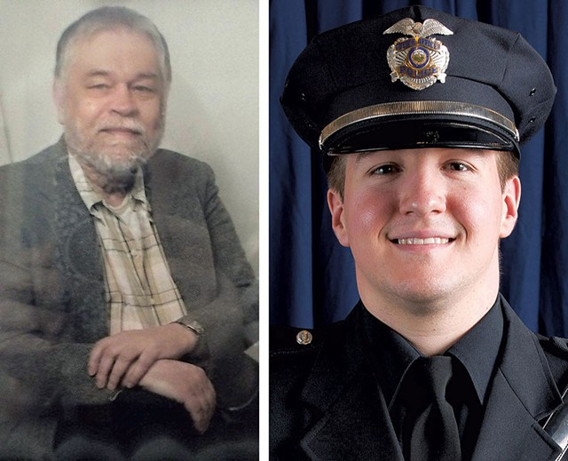 """Ralph """"Phil"""" Grenon (left) and Officer David Bowers - COURTESY OF WCAX-TV 