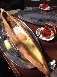 Turkish pide stuffed with spiced meat, cheeses and egg - COURTESY OF CARA CHIGAZOLA-TOBIN
