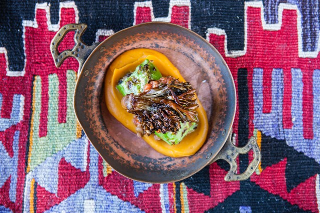Lamb and cabbage sarma with sweet potato purée and crispy hen-of-the-woods mushrooms - COURTESY OF ALIZA ELIAZAROV