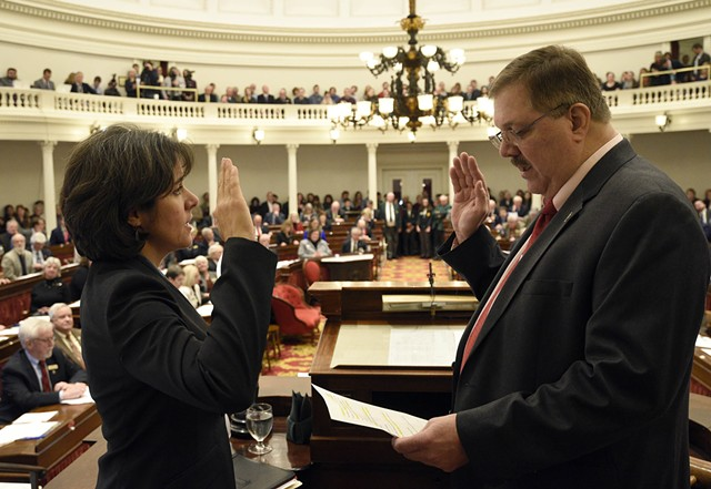 Rep. Mitzi Johnson (D-South Hero) is sworn in as House speaker Wednesday by Secretary of State Jim Condos. - JEB WALLACE-BRODEUR