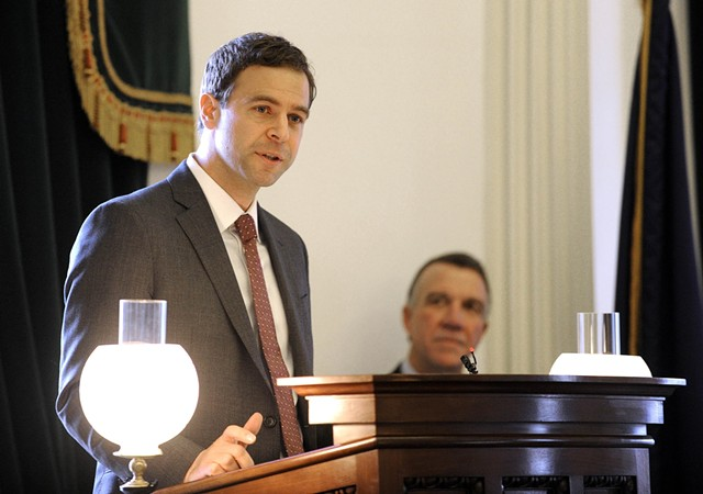 Senate President Pro Tempore Tim Ashe delivers remarks Wednesday on the Senate floor. - JEB WALLACE-BRODEUR