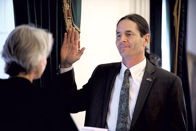 Lt. Gov. David Zuckerman being sworn into office - JEB WALLACE-BRODEUR