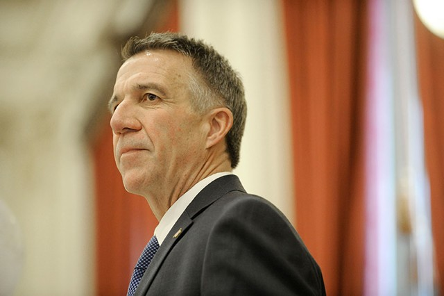 Gov. Phil Scott delivers his inaugural address last Thursday at the Statehouse - JEB WALLACE-BRODEUR