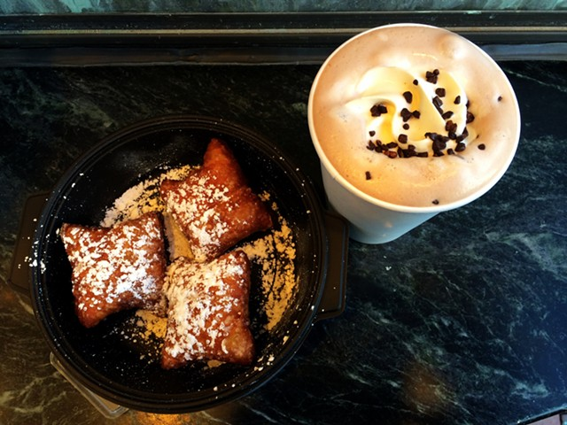 Beignets and hot chocolate at Leunig's Petit Bijou - JULIA CLANCY