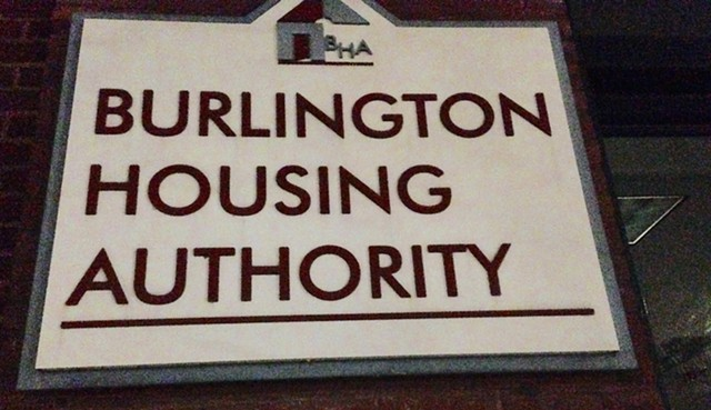 Sign on Burlington Housing Authority headquarters on Main Street - MOLLY WALSH