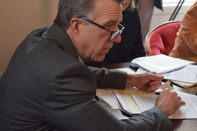 Gov. Phil Scott at Thursday's Emergency Board meeting - TERRI HALLENBECK