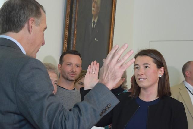 Gov. Phil Scott swears Sarah George in as Chittenden County state's attorney. - TERRI HALLENBECK
