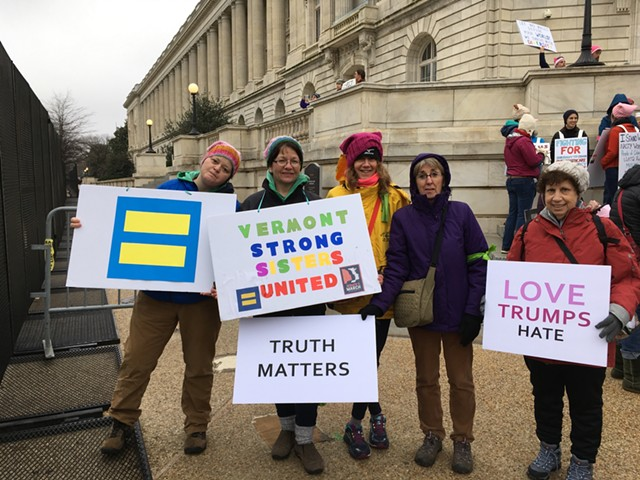 Doris Rukat of Dorset with her sister and other southern Vermonters in D.C. - RACHEL JONES