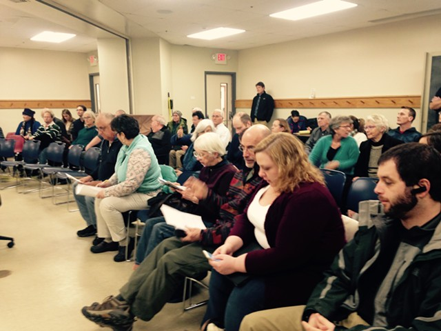 The crowd at South Burlington City Hall Monday night - MOLLY WALSH/SEVEN DAYS