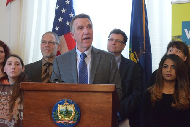 Gov. Phil Scott defends his education budget proposal Thursday. - TERRI HALLENBECK