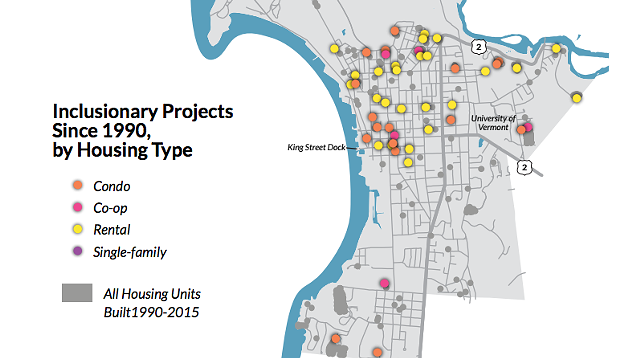 Inclusionary housing projects, 1990-2015 - COURTESY OF CZB