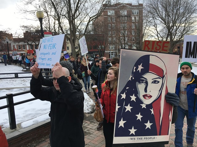 Protesters entering City Hall Park in Burlington - MATTHEW ROY