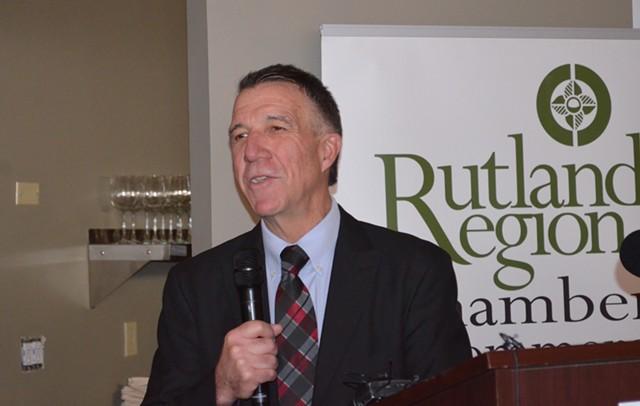 Gov. Phil Scott addresses business leaders Monday in Rutland. - ALICIA FREESE