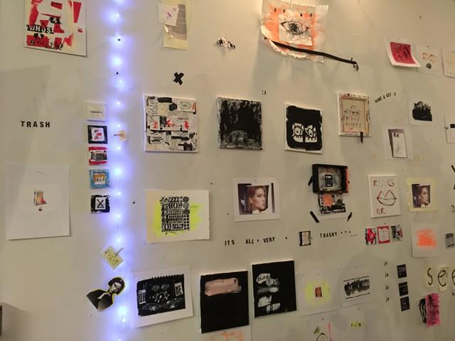 Wall of works by Leah Dinkin - RACHEL JONES