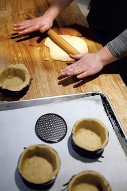 Rolling dough at Piecemeal Pies - SARAH PRIESTAP
