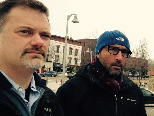 Attorney Chris Nordle (left) and hotel developer Adam Dubroff at a site walk for the proposed hotel in Winooski on Monday. - MOLLY WALSH