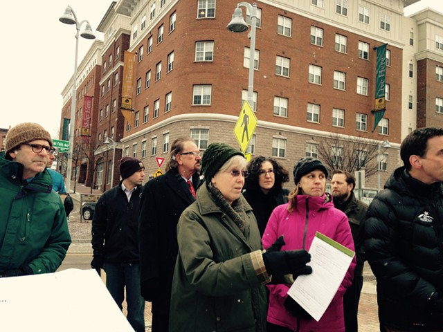 Marcy Harding, holding legal pad, leads a hotel site visit Monday. - MOLLY WALSH