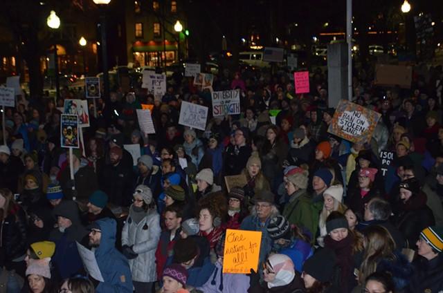 The rally in City Hall Park in Burlington - MARK DAVIS