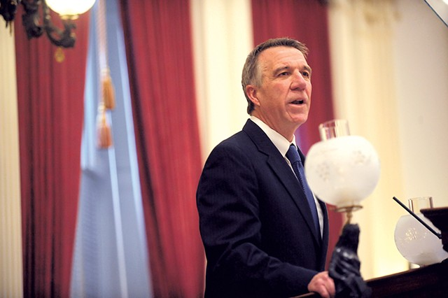 Gov. Phil Scott delivering his budget address - FILE: STEFAN HARD