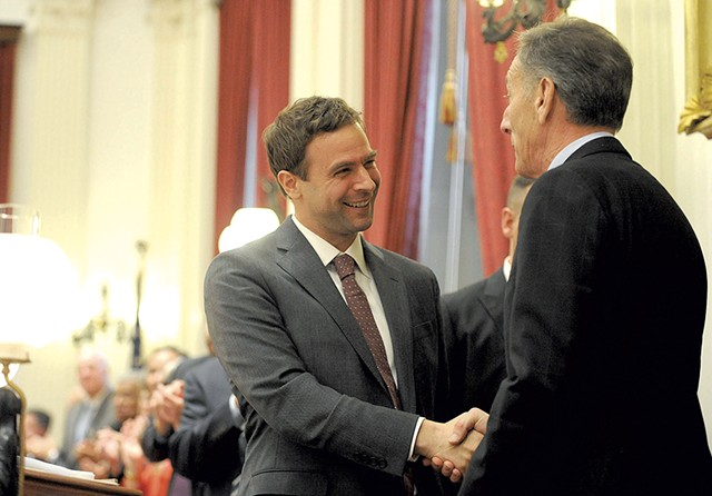 Tim Ashe greets outgoing Gov. Peter Shumlin - MATTHEW THORSEN