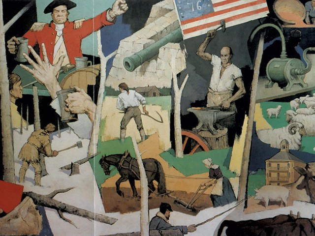 """Paul Sample's 1958 mural, """"Tribute to Vermont"""" - COURTESY OF VERMONT HISTORY MUSEUM"""