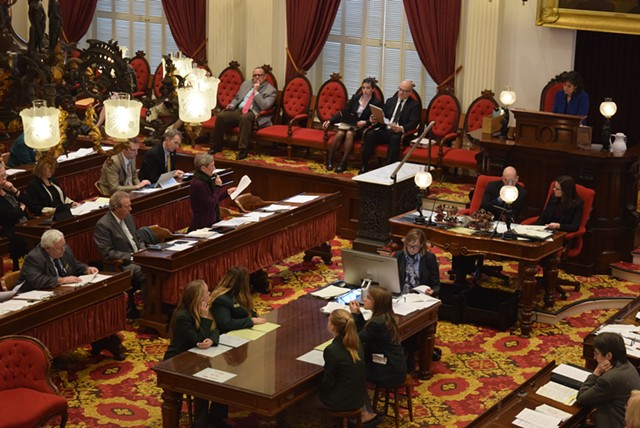 Rep. Maida Townsend (center-left) speaks on the House floor Wednesday. - TERRI HALLENBECK