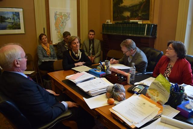 Sue Minter speaks to the Senate Education Committee on Wednesday. - TERRI HALLENBECK