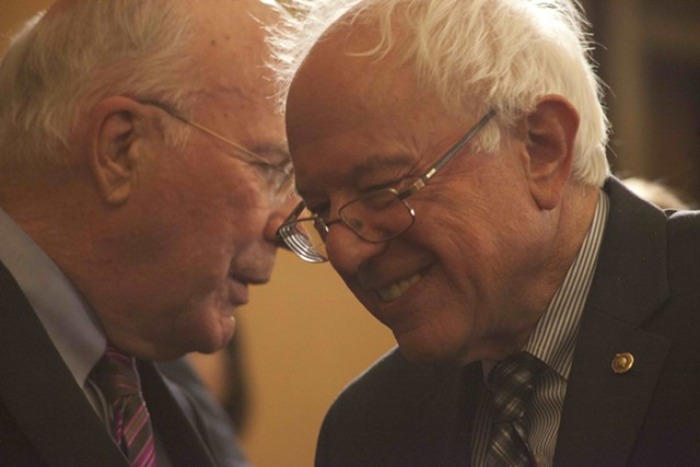 Sens. Patrick Leahy and Bernie Sanders - FILE: MATTHEW THORSEN