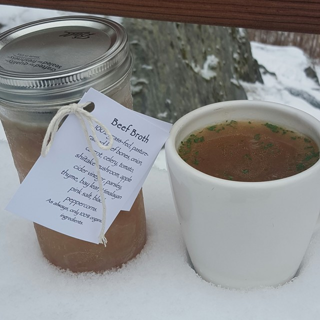 Beef broth from the Simmering Bone - COURTESY OF THE SIMMERING BONE