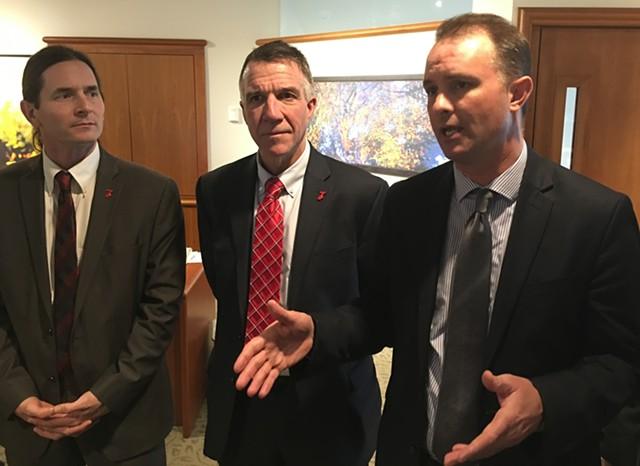 Lt. Gov. David Zuckerman, Gov. Phil Scott and Attorney General T.J. Donovan on Friday outside the governor's office - JOHN WALTERS