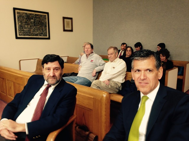 Josh Dein (left) and his attorney Pietro Lynn in Vermont Superior Court Friday morning - MOLLY WALSH