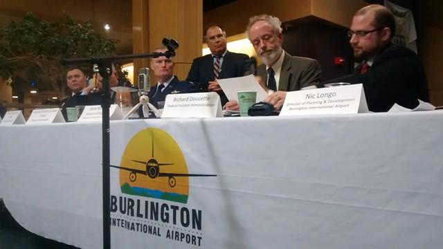 Richard Doucette presents at the Burlington airport. - KATIE JICKLING