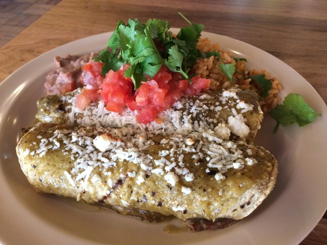 Pastor enchiladas at the Montpelier Mad Taco - SUZANNE PODHAIZER